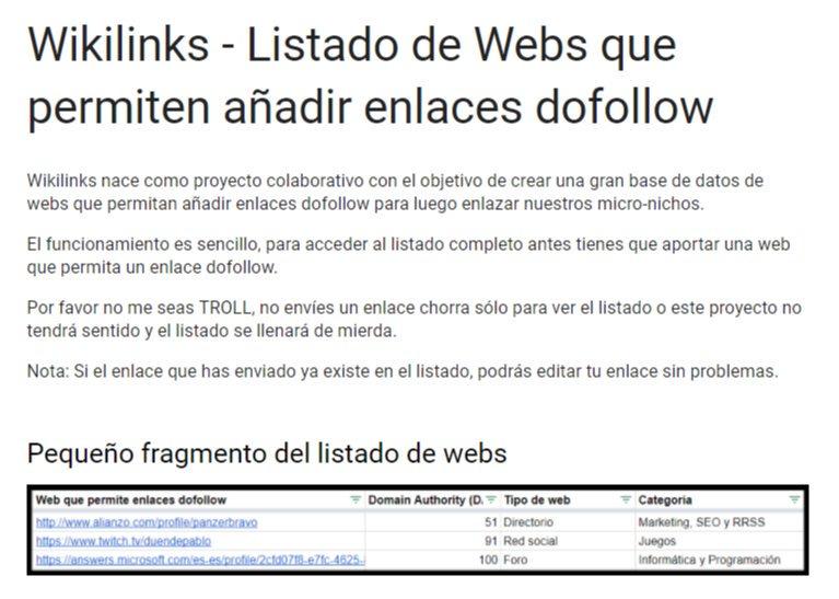 Wikilinks – Lista de webs donde se puede añadir un enlace dofollow